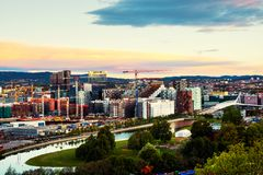 A morning view of Sentrum area of Oslo, Norway, with Barcode buildings royalty free stock photos