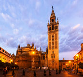 Morning view of  Seville Cathedral with Giralda Stock Photos