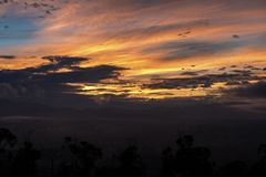 Morning Sky the golden hour. The Morning view of sky from Kathmandu valley and the sunrise and golden hour stock photos