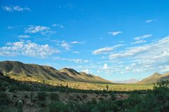 Sonoran Desert Morning. Morning view of the Sonoran Desert with sunlight on the mountain sides Royalty Free Stock Photos