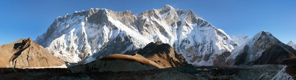 Morning view of southern face of lhotse and nuptse Stock Images