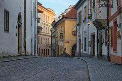 Morning view of a street of city center. Cesky Krumlov is a small city in the South Bohemian Region of the Czech Republic Royalty Free Stock Photography