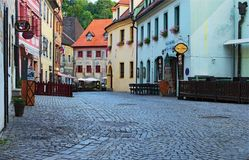 Morning view of a street of city center. Cesky Krumlov is a small city in the South Bohemian Region of the Czech Republic Stock Photography