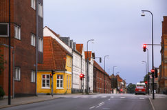 Morning view of streets in Fredericia city, Denmark Stock Photos