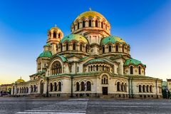 Morning view of sunlit Alexander Nevsky Cathedral, Sofia, Bulgaria royalty free stock images