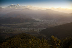 Morning view and sunrise of Himalayan mountains Stock Images