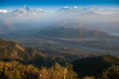 Morning view and sunrise of Himalayan mountains Royalty Free Stock Photo