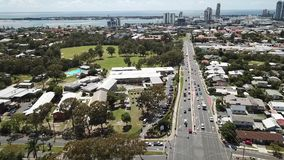 Morning view of Surfers Paradise and Southport qld,gold coast Southport CBD. Modern video pan view of Southport qld, gold coast Southport CBD stock footage
