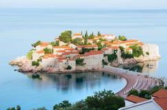 The morning view of   Sveti Stefan sea islet (Montenegro) Stock Photos