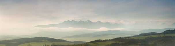 Morning with view of Tatras Stock Images