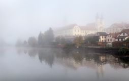 Morning view of Telc or Teltsch town mirroring in lake Royalty Free Stock Photography
