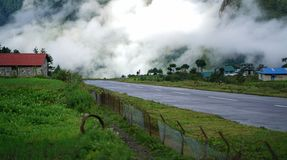 Morning View of Tenzing–Hillary Airport Runway, Lukla Nepal.  stock images
