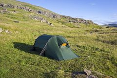 View to the tent in wide landscape Royalty Free Stock Photos