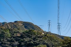 Morning view of transmission tower, power lines. At Los Angeles, California royalty free stock photo