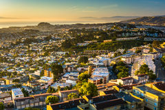Morning view from Twin Peaks, in San Francisco  Royalty Free Stock Photo