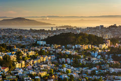 Morning view from Twin Peaks, in San Francisco  Royalty Free Stock Image