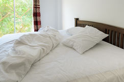 Morning view of an unmade bed Royalty Free Stock Images