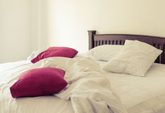 Morning view of an unmade bed Royalty Free Stock Photos
