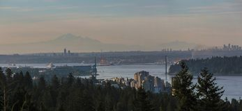 Morning view of Vancouver and Burnaby BC Panorama Royalty Free Stock Photography