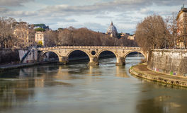 Morning view on Vatican over the Tiber river. Royalty Free Stock Images