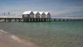Morning view of west australia`s busselton jetty. The longest jetty in the southern hemisphere at almost 2km long stock video