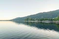 Morning view wit Obersee lake Lake Constance in Bregenz, Austria.  royalty free stock images