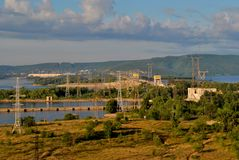 Morning view of the Zhiguli Hydroelectric Power Station on the Volga River. The frame was taken from the roof of a 16-storey residential building stock photos