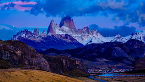 Morning viiew of mount Fitz Roy in Southern Patagonian Ice Field stock footage