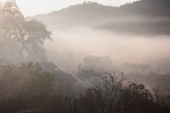Morning,village. Fog over the village,Anhui Royalty Free Stock Photo