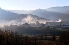 Morning. Village in the hills in the morning in autumn Royalty Free Stock Photos