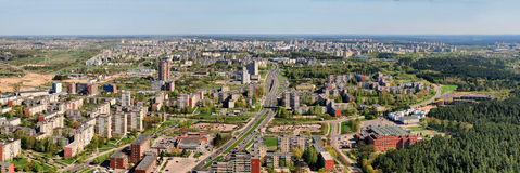Morning in the Vilnius city - aerial view Stock Photography