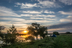Morning on the Volga. Early morning on the bank of the river Volga Royalty Free Stock Photo