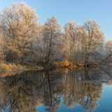 Morning on a Vorskla river at late autumnal season. Sumskaya oblast, Ukraine Royalty Free Stock Images