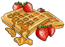 Morning waffles. Waffles with maple syrup, served with fresh strawberries Royalty Free Stock Images