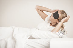 Morning wake up. Pretty Blonde girl waking up in the morning Stock Images