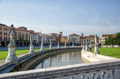 The central square of Prato della Valle in Padova, Italy. Morning walk through the central square of Prato della Valle in Padua stock images