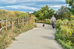 Morning walk with dog  on bike trail Royalty Free Stock Image