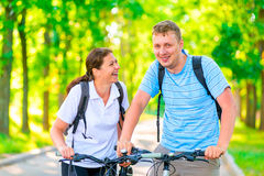 Morning walk in the park on bicycles Royalty Free Stock Photography
