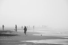 Morning walkers in Ocean Beach, San Francisco Stock Photos