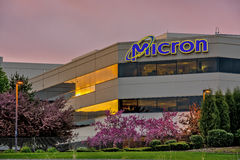 Morning warm sunlight on Micron Technology signage Stock Photography