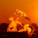Morning warming emissions. Morning fume of warming emissions catalyst stock image