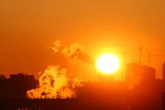 Morning warming emissions Stock Photos