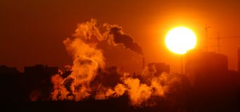 Morning warming emissions. Catalyst fume royalty free stock image