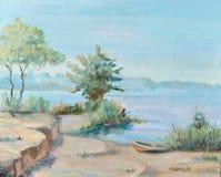 Morning on a water basin. Sunny  morning,  deserted coast, lake Stock Photo