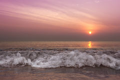 Morning wave. Stop motion wave on the beach in the morning Stock Image