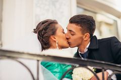 Morning wedding kiss in Prague Stock Photography