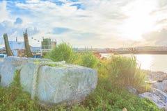 Morning of wharf Stock Image