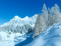 Morning winter alpine road. Royalty Free Stock Photography