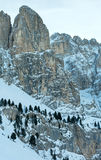 Morning winter Gardena Pass  in Dolomites of South Tyrol, Italy. Stock Images
