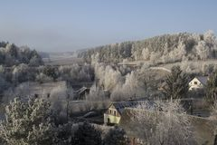 Morning winter kiss in eastern Bohemia royalty free stock image